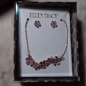 Ellen Tracy Earing Necklace Rose Gold Set
